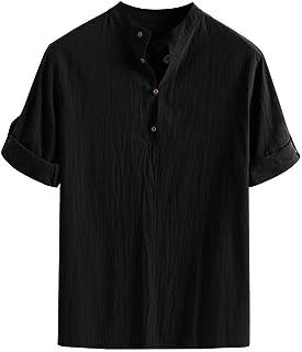 Camisetas Para Hombre Primavera Hombres Baggy Verano Cotton Linen Tamaños Cómodos Soid Color Manga Corta Camisetas Retro T...