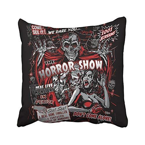 Fundas de almohada abstractas vintage de Halloween de Monstruos de Horror Spook Steampunk Show de poliéster cuadrado cojines decorativos con cremallera oculta sofá hogar 50 x 50 cm