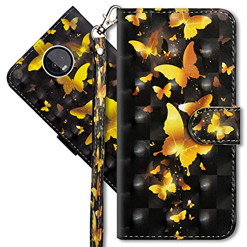 MRSTER Moto Z3 Play Handytasche, Leder Schutzhülle Brieftasche Hülle Flip Hülle 3D Muster Cover mit Kartenfach Magnet Tasche Handyhüllen für Motorola Moto Z3 Play. YX 3D - Golden Butterfly
