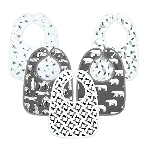 MYZIDEA Unisex Baby Bibs, Towel-Layered Fabric,with 100% Organic Cotton Terry Drooler Bibs with Snaps, Boy Drooling Bib, Soft and Absobent, Girls Teething Burp Cloth 5 Pack