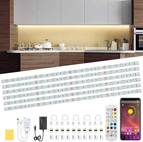 Under Cabinet LED Lighting Kit 6 PCS RGB LED Strip Lights Waterproof Dimmer 10ft Night Light product image
