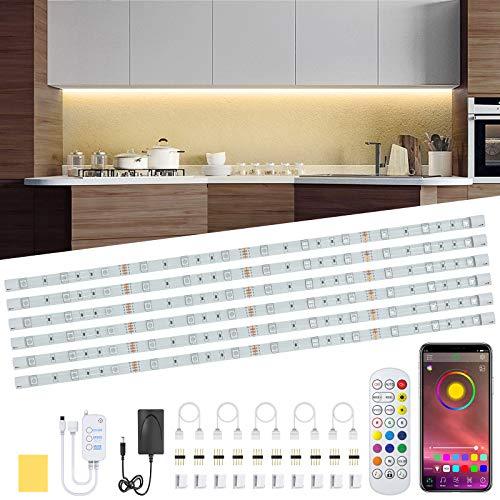 Under Cabinet LED Lighting Kit, 6 PCS RGB LED Strip Lights Waterproof...