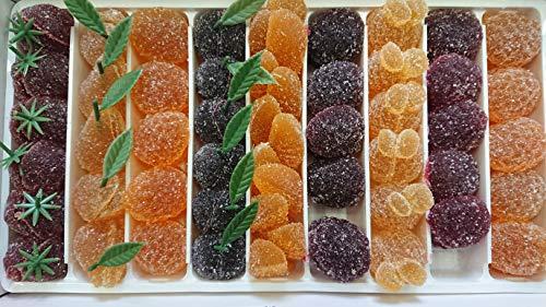gelees alla frutta 1 kg,sapori (fragola, pera, amarena, ananas, lampone, albicocca, arancia, mango, ribes nero), senza glutine, senza conservanti, senza coloranti e senza aromi artificiali.