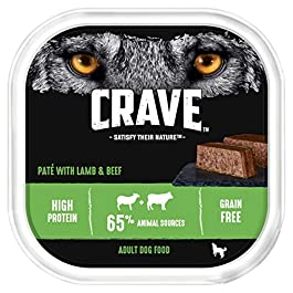 Crave Lamb & Beef Dog Food Paté – High Protein & Grain-Free – 300 g (Pack of 10 Trays)