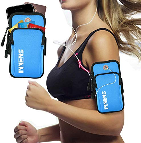 Innens Cell Phone Running Armband for iPhone 11 Pro Max 11 XS XR 8, Galaxy S20 S10 S9 Plus, Water Resistant Sports Phone Holder with Adjustable Band and Earphone Jack for Hiking Biking Walking