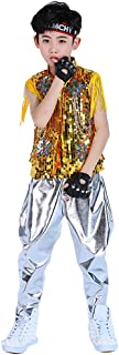 Disfraz de Hip Hop con Lentejuelas para niños y niñas Conjunto de Ropa de Baile Jazz para niños