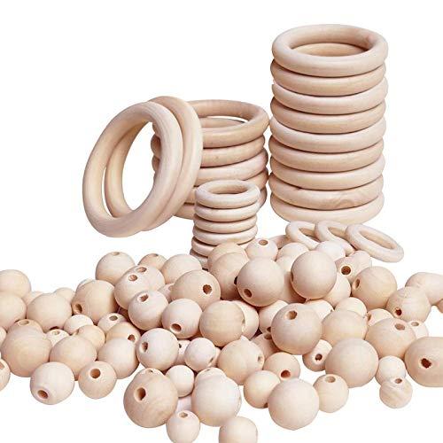 RENSHENKTO Cuentas de madera natural y anillos de madera anillo redondo para bricolaje joyería macramé 85 piezas