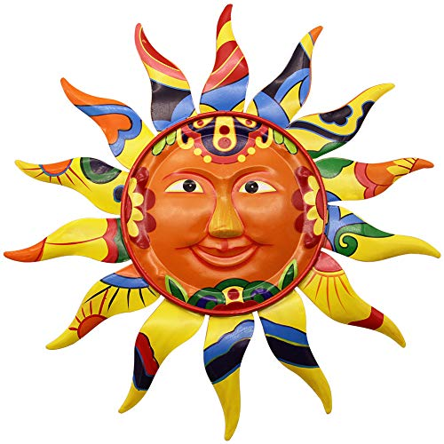 Juegoal 12.7 Inch Metal Sun Wall Art Decor Hanging for Indoor Outdoor Home Garden