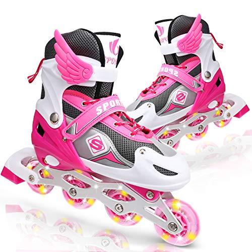 ioutdoor Verstellbare Inline-Skates mit Allen Beleuchteten Rädern, ABEC 7 Carbon-Kugellager, für Kinder, Jugendliche und Erwachsene (Rosa, Large 38-41)