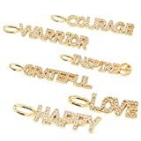 NBEADS 6 Pcs Word Charm Cubic Zirconia Pendants, Clear Golden Brass Micro Pave Cubic Zirconia Pendants for Jewerly Making