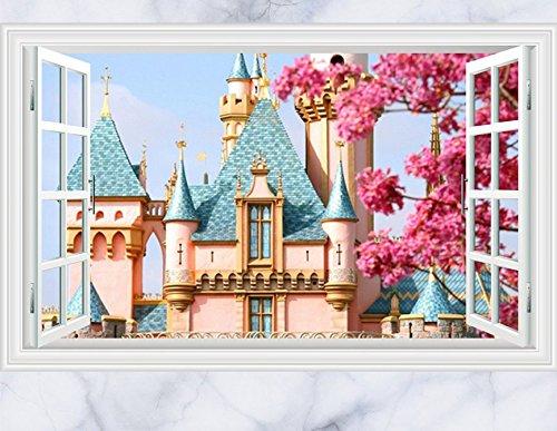 Skyllc® Rêve Bleu Castle 3D Window View Decal Sticker Mural pour Salon Chambre Home Decor