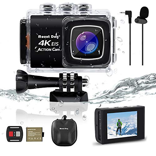 【Upgrade】 Sports Action Camera, MOUNTDOG 4K Ultra HD Waterproof DV Camcorder 30MP 170 Degree Wide Angle with Wireless Wrist Remote
