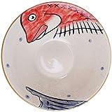 YWYW Tazón de sopa de fideos de cerámica estilo japonés para sopa de papilla de dibujos animados Tazón de ensalada de porcelana Tayo Tazón de fideos para cocina casera (rojo)