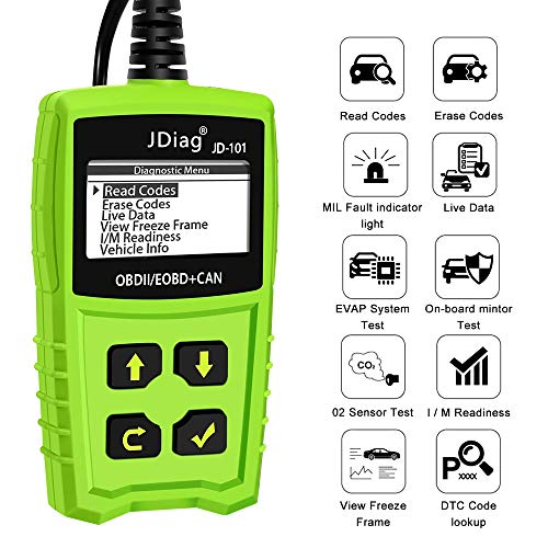 OBDKCAN Car Code Reader JD101 OBD2 Scanner, Automotive Fault Auto Code Reader Scanner CAN Diagnostic Scan Tool with Battery Condition Test Check Engine Light