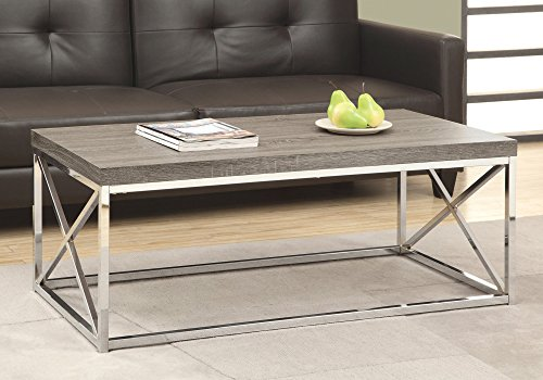 Monarch Specialties Modern Coffee Table for Living Room Center Table with Metal Frame, 44 Inch L, Dark Taupe / Chrome