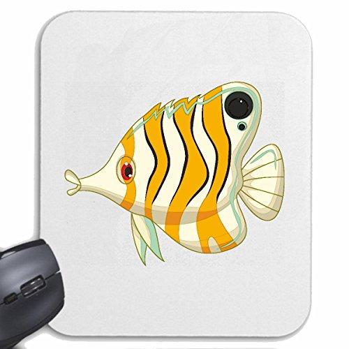 Reifen-Markt Mousepad (Mauspad) BUNTER DER ZIERFISCH MIT Langer Nase FISCHARTEN ZIERFISCHE Fische Aquarium für ihren Laptop, Notebook oder Internet PC (mit Windows Linux usw.) in Weiß