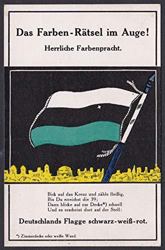 Das Farben-Rätsel im Auge. Herrliche Farbenpracht. - Deutsches Reich Flagge Fahne Raetsel Karte optische Täuschung Postkarte Ansichtskarte AK