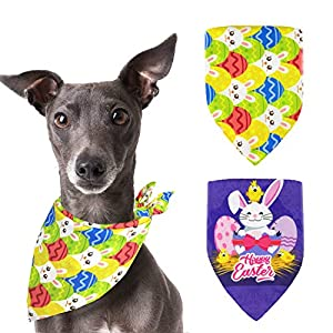 Pohshido 2 Pack Easter Dog Bandanas Reversible Triangle Bibs Accessories for Small Medium Large Dogs Puppies Pets