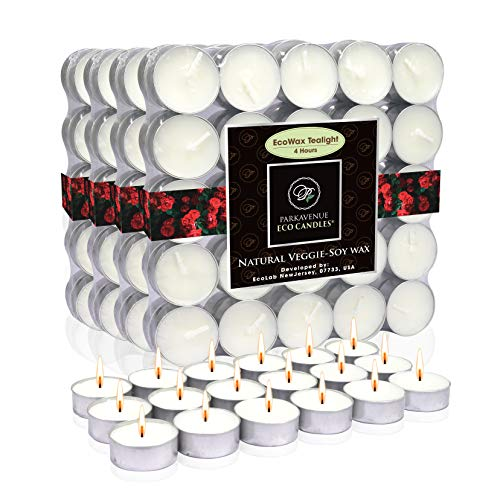 Coco-Soy Candles, 100-Pack Unscented Tealight Candles 4 Hour Extended Burn Time, 100% Natural Coconut Soy Wax, Long Burning Candles