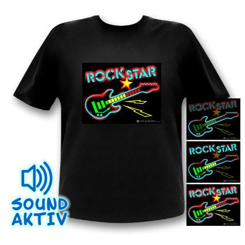 LED-Fashion T-Shirt lumineux à LED pour homme Modèle Equalizer Rockstar - L