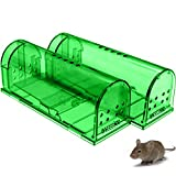 CaptSure Original Humane Mouse Traps, Easy to Set, Kids/Pets Safe, Reusable for Indoor/Outdoor use, for Small Rodent/Voles/Hamsters/Moles Catcher That Works. 2 Pack (Small (Green))