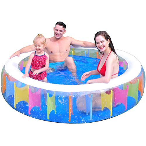 ruixin Inflatable Swimming Pool - 75-Inch Family Round Swimming Pool, Foldable Summer Paddling Pool For Adults And Children, Outdoor Garden, Backyard Swimming Pool, Suitable For Over Six Years Old