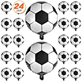 24 Pcs 18 Inch Soccer Balloons Aluminum Foil Balloons Mylar Balloons for birthday party Soccer Party Decorations Football Party Supplies Birthday Party Decoration 45cm