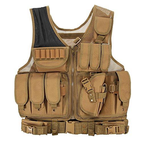 Lixada Maglia per Tattico Militare Esercito Poliestere Airsoft Gilet da Caccia per all'Aperto Campeggio Escursionismo