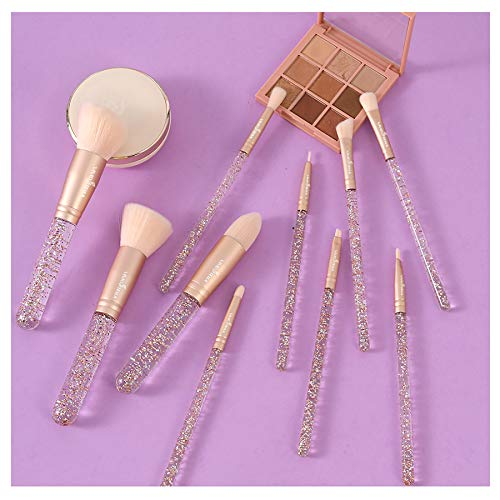 Brochas Maquillaje 10 Piezas Brochas Transparente Cristal Belleza Mujer Maquillaje BrochasMaquillaje de Viaje Herramienta Para Mujeres