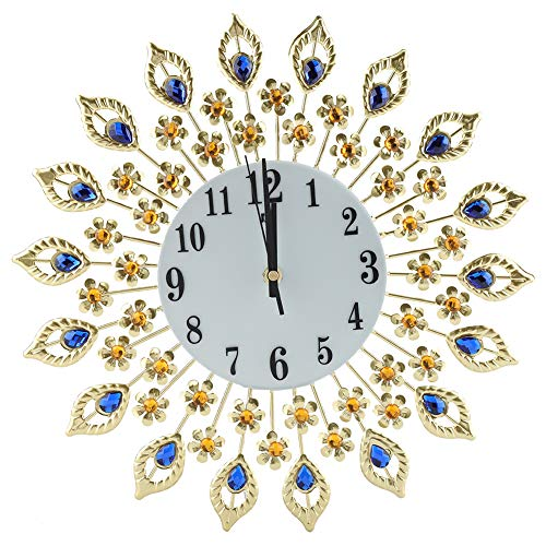Greensen Wanduhr mit Schmucksteinen, Rund Wanduhren Diamanten Dekorative Uhr Peacock Wanduhr Diamant-Wanduhr Kristalldekoration aus Metall Moderne Elektronische Quarzuhr
