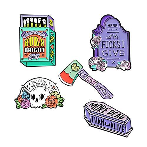 Matchbox Hatchet The Axe Skull Axe Coffin Broche Siempre Burn Ful Insignia Pines de esmalte Joyería Punk de Halloween, Estilo 6