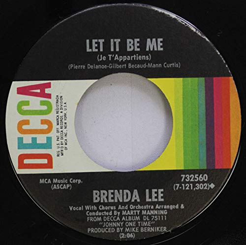 Brenda Lee 45 RPM Let it be me / You better move on