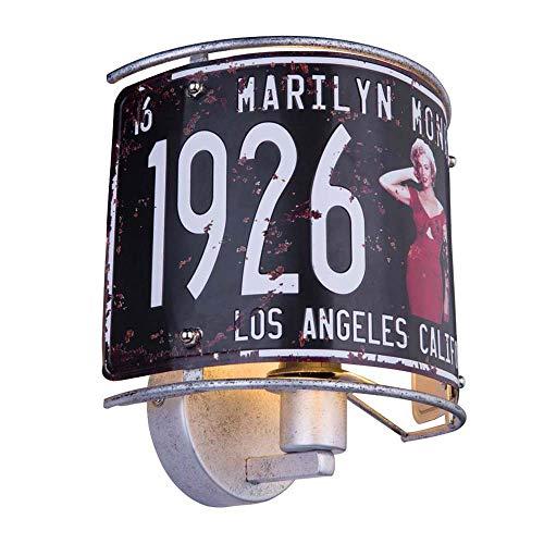 Lámpara de pared con decoración: 1 Monroe hacia arriba, color plateado metálico.