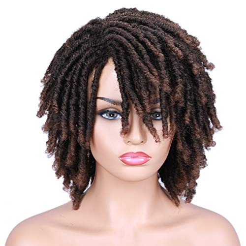 Lady Hanne Dreadlock Wig Black Brown Short Curly Braided Twist Dreadlock Wigs Heat Resistant Synthetic Daily Party Replacement Wig for Women