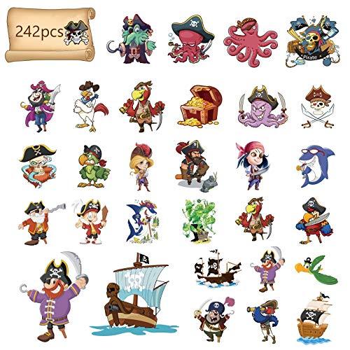Matogle 24 Stück Piraten Tattoo Set Kindertattoos Piraten temporäre Tattoos Aufkleber Stickers für Kinder Party Mitgebsel Kindergeburtstag Geschenktüten Partygame Geschenke Party zubehör