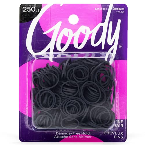 GoodyOuchlessWomensPolybandElastic Hair Tie - 250 Count, Black - Fine Hair - Hair Accessories to StyleWithEase and Keep Your Hair Secured - Perfect for Fun and Unique Hairstyles - Pain-Free