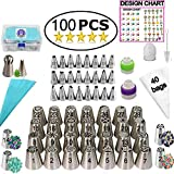 Aleeza Cake Wonders Russian Piping Tips Set - 100 pcs Cake Decorating Supplies with 40 Icing Bags, 28 Russian Nozzles, 24 Frosting Tips, Leaf and Ball Pastry Tips. Cookie and Cupcake Decorating Kit