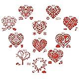 DAYREE 11 PCS Valentine Themed Stencils Flower Lace Love Heart Tree Leaf Valentine Plastic Painting Stencils Template for Make Valentine's Day Wedding Anniversary Scrapbook Journal Crafts