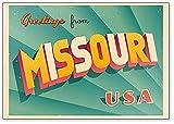 Imán para nevera con ilustración de los Estados Unidos de Missouri, de Vintage Touristic Greetings