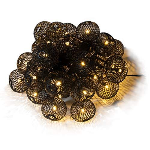 Qbis 30 Lichterketten Schwarz Metall Laternenabdeckungen mit warmweißen Lichterketten Batterie oder USB, Timer, Indoor/Outdoor hängende Lichterkette … (schwarz)