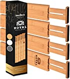 Adjustable Bamboo Drawer Dividers for Small Drawers - Expandable Drawer Organization Separators For Kitchen, Dresser, Bedroom, Bathroom, 4-Pack (13.5-16.5 IN)