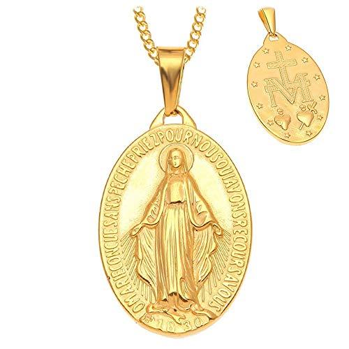 BOBIJOO JEWELRY - Collar Colgante Medalla De La Virgen Milagrosa De Acero Chapado En Oro Cadena De Oro