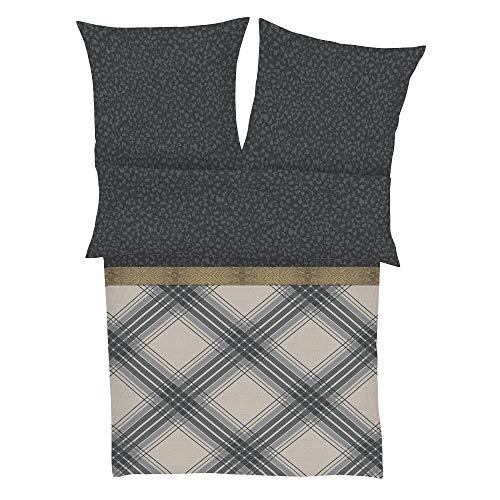 BUGATTI Mako Satinbettwäsche 135x200 cm - Makosatinbettwäsche grau Khaki 100% Baumwolle, 2 TLG. Set aus Deckenbezug 135x200cm und Kissenhülle 80x80cm, praktischer Reißverschluss