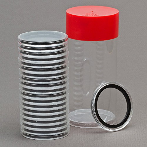 1 Airtite Coin Holder Storage Container & 20 Black Ring 37mm Air-Tite Coin Holder Capsules for 1oz Philharmonic