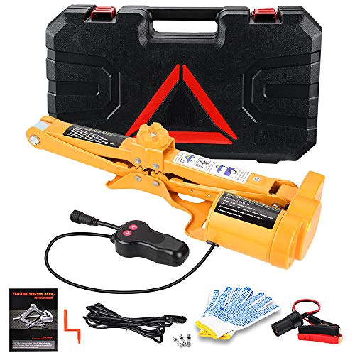Anbull Electric Car Floor Jack 3 Ton Automatic Scissor Lift Jack Car Repair Tool for Tire Change & Repalcement for Sedan & SUV (3Ton)