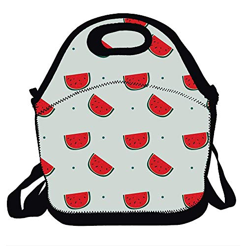 Reusable Insulated Neoprene Lunch Tote Bag, Portable Lunchbox Handbag with Shoulder Strap- Watermelon 1