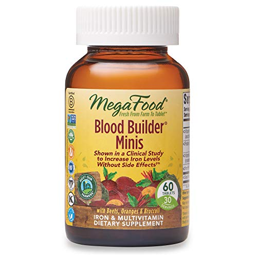 MegaFood, Blood Builder Minis, Daily Iron Supplement and Multivitamin, Supports Energy and Red Blood Cell Production Without Nausea or Constipation, Vegan, 60 Tablets (30 Servings)