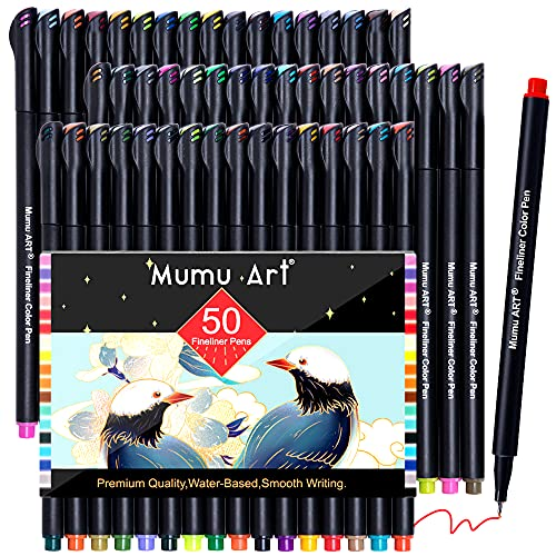 50 Colors Journal Planner Pens, Colored Pens Fine Point Markers Drawing Pens Porous Fineliner Pen for Bullet Journaling Writing Note Taking Calendar Coloring