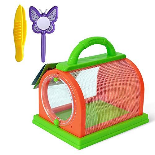 Jaula De Insectos Para Niños Jaula De Observación De Insectos Animales Domésticos Portátiles Jaula Caja De Insectos Con Pinzas y Lupa Juguetes De Exploración De La Naturaleza Para Niños Naranja Verde
