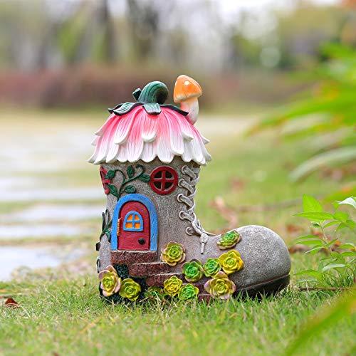 Estatuas de jardín y decoración al aire libre, figuras de jardín con luces solares para patio, patio, césped, jardinería, regalos, 7.9 x 4.4 x 9.1 pulgadas